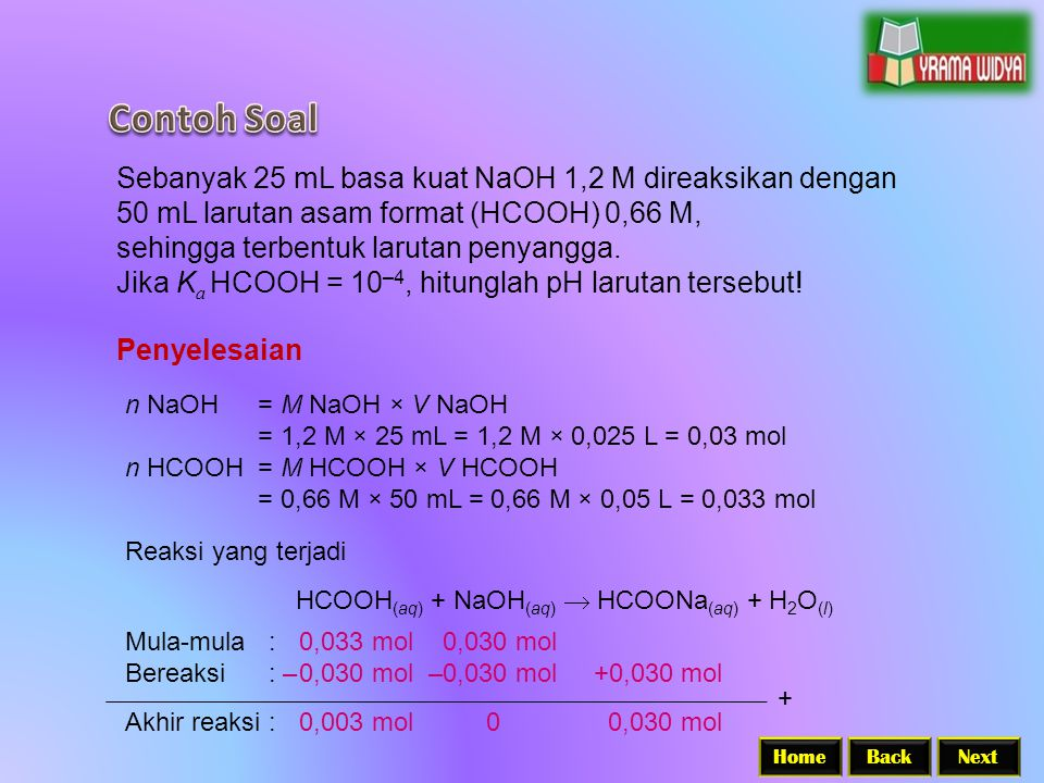 Contoh Soal Sebanyak 25 mL basa kuat NaOH 1,2 M direaksikan dengan