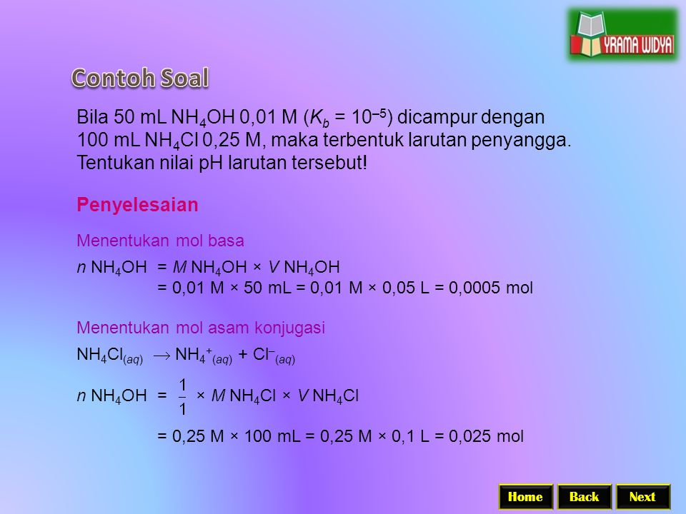 Contoh Soal Bila 50 mL NH4OH 0,01 M (Kb = 10–5) dicampur dengan