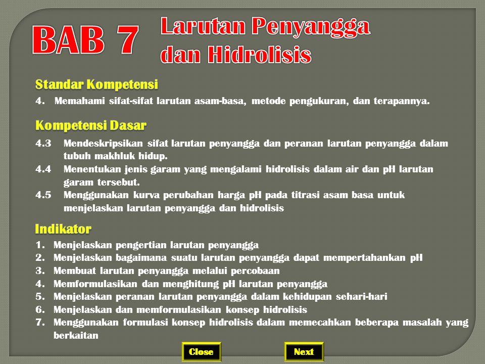 BAB 7 Larutan Penyangga dan Hidrolisis Standar Kompetensi
