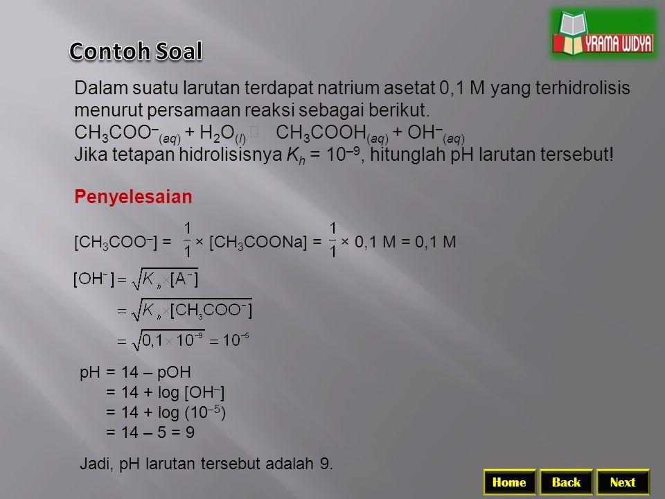 Contoh Soal Dalam suatu larutan terdapat natrium asetat 0,1 M yang terhidrolisis menurut persamaan reaksi sebagai berikut.