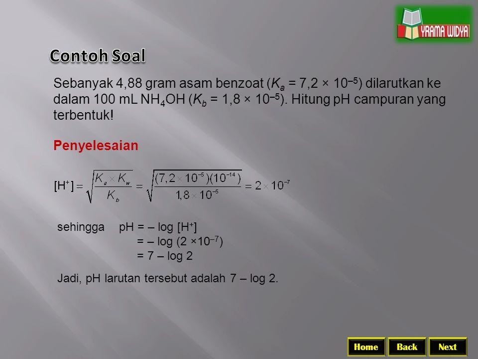 Contoh Soal Sebanyak 4,88 gram asam benzoat (Ka = 7,2 × 10–5) dilarutkan ke dalam 100 mL NH4OH (Kb = 1,8 × 10–5). Hitung pH campuran yang terbentuk!