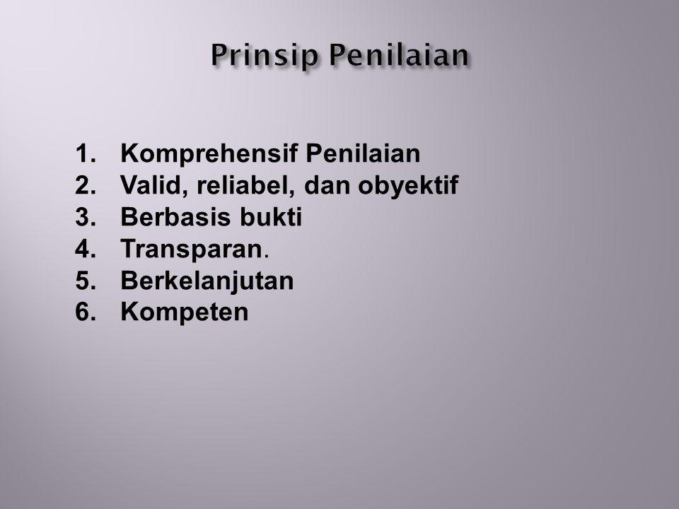 Prinsip Penilaian Komprehensif Penilaian Valid, reliabel, dan obyektif