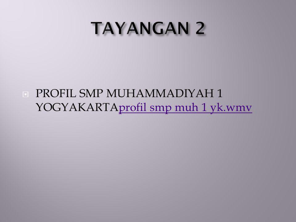 TAYANGAN 2 PROFIL SMP MUHAMMADIYAH 1 YOGYAKARTAprofil smp muh 1 yk.wmv