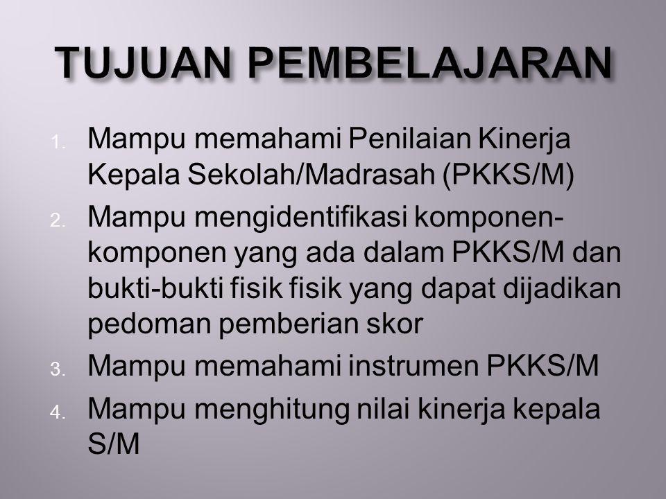 TUJUAN PEMBELAJARAN Mampu memahami Penilaian Kinerja Kepala Sekolah/Madrasah (PKKS/M)
