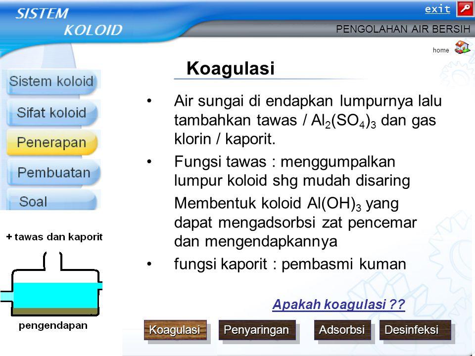 exit PENGOLAHAN AIR BERSIH. home. Koagulasi. Air sungai di endapkan lumpurnya lalu tambahkan tawas / Al2(SO4)3 dan gas klorin / kaporit.