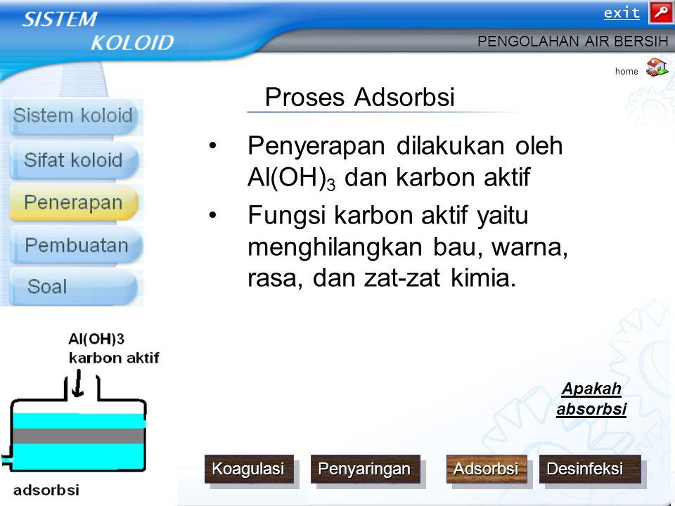 Penyerapan dilakukan oleh Al(OH)3 dan karbon aktif