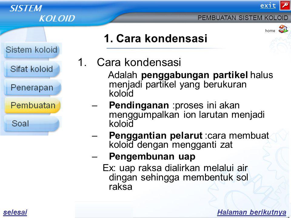 1. Cara kondensasi Cara kondensasi