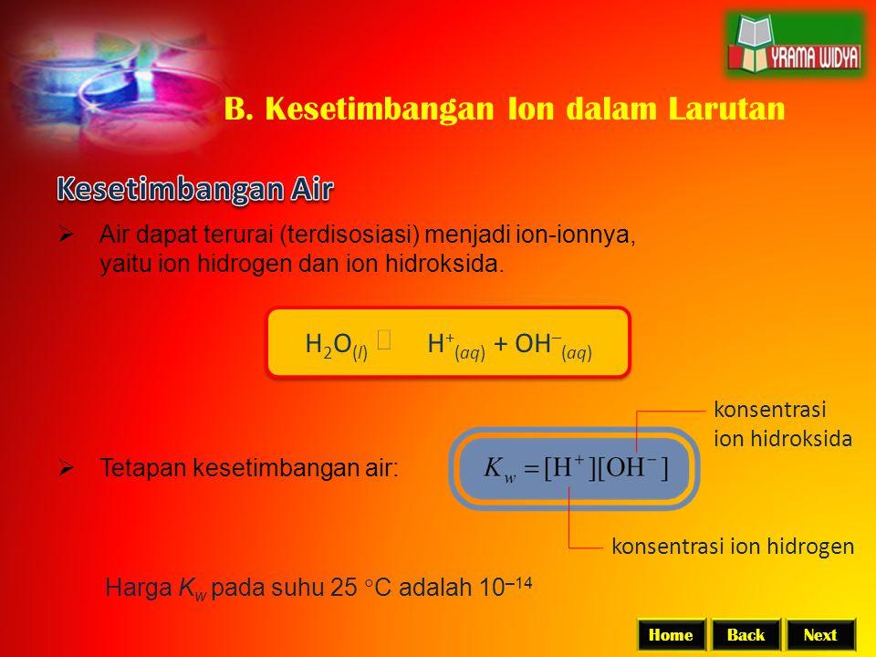 B. Kesetimbangan Ion dalam Larutan