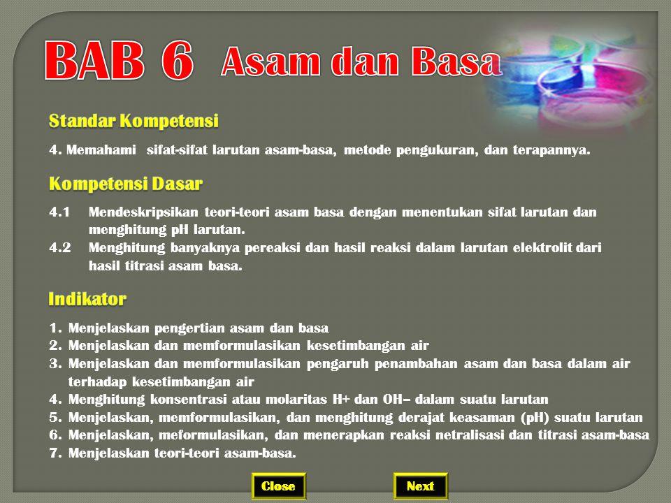 BAB 6 Asam dan Basa Standar Kompetensi Kompetensi Dasar Indikator
