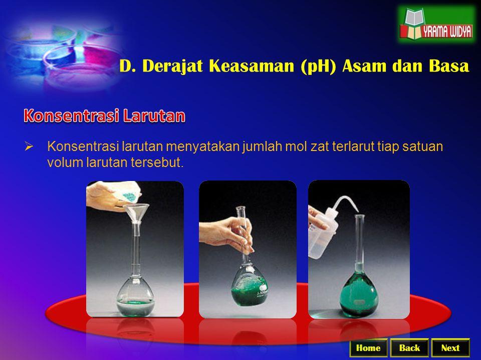 D. Derajat Keasaman (pH) Asam dan Basa
