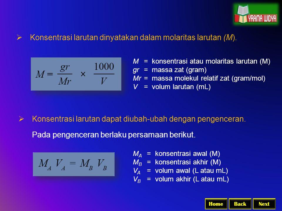 Konsentrasi larutan dinyatakan dalam molaritas larutan (M).