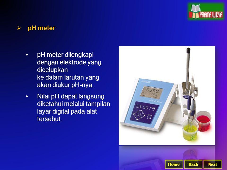 pH meter dilengkapi dengan elektrode yang dicelupkan