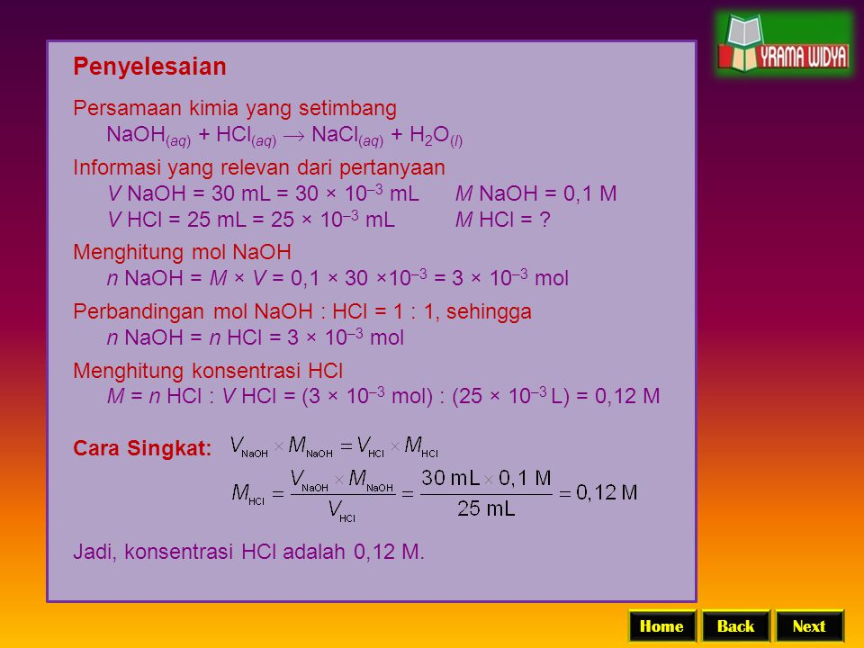 Penyelesaian Persamaan kimia yang setimbang