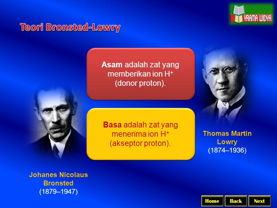 Teori Bronsted-Lowry Asam adalah zat yang memberikan ion H+