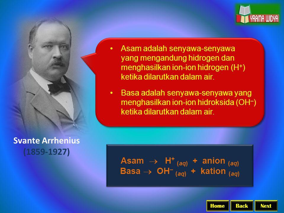 Asam  H+ (aq) + anion (aq) Basa  OH– (aq) + kation (aq)