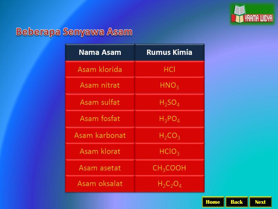 Beberapa Senyawa Asam Nama Asam Rumus Kimia Asam klorida HCl