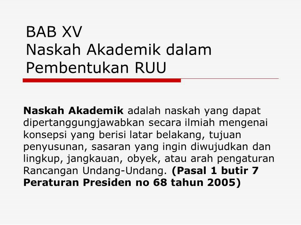 BAB XV Naskah Akademik dalam Pembentukan RUU