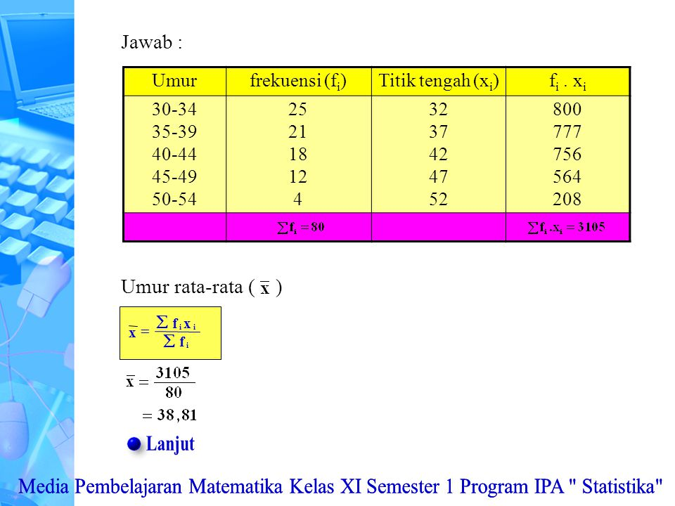 Jawab : Umur. frekuensi (fi) Titik tengah (xi) fi . xi. 30-34. 35-39. 40-44. 45-49. 50-54. 25.