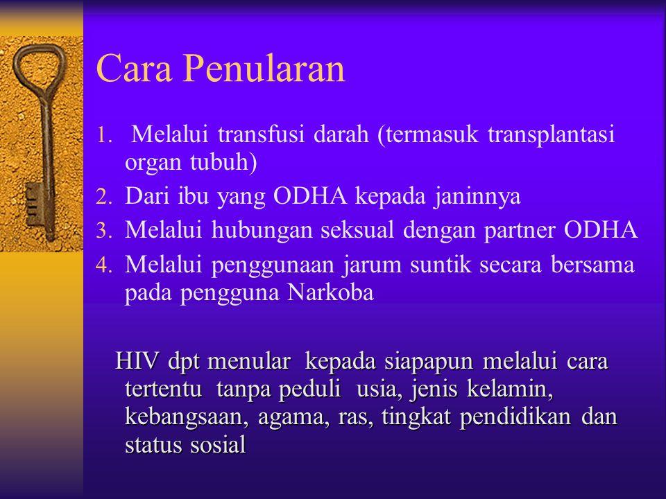 Cara Penularan Melalui transfusi darah (termasuk transplantasi organ tubuh) Dari ibu yang ODHA kepada janinnya.