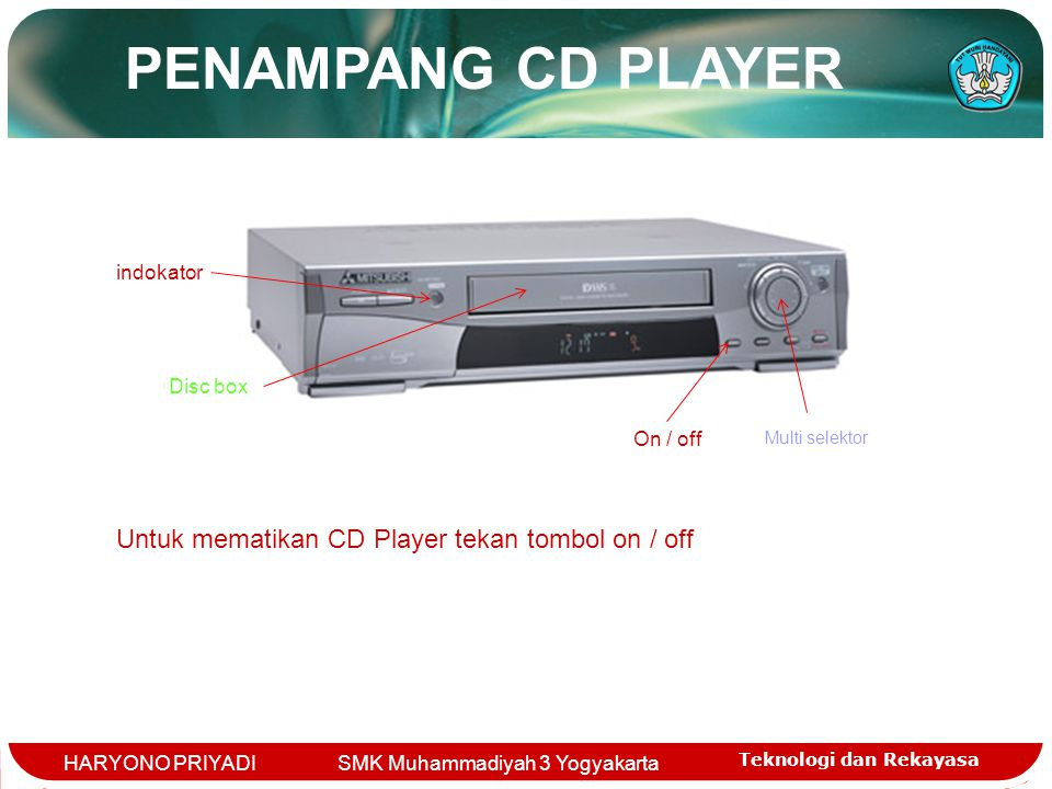 PENAMPANG CD PLAYER Untuk mematikan CD Player tekan tombol on / off