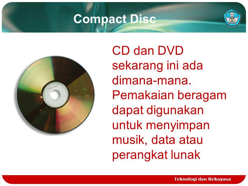 Compact Disc CD dan DVD sekarang ini ada dimana-mana. Pemakaian beragam dapat digunakan untuk menyimpan musik, data atau perangkat lunak.