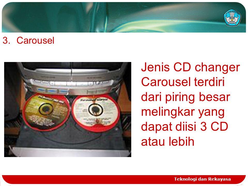 Carousel Jenis CD changer Carousel terdiri dari piring besar melingkar yang dapat diisi 3 CD atau lebih.