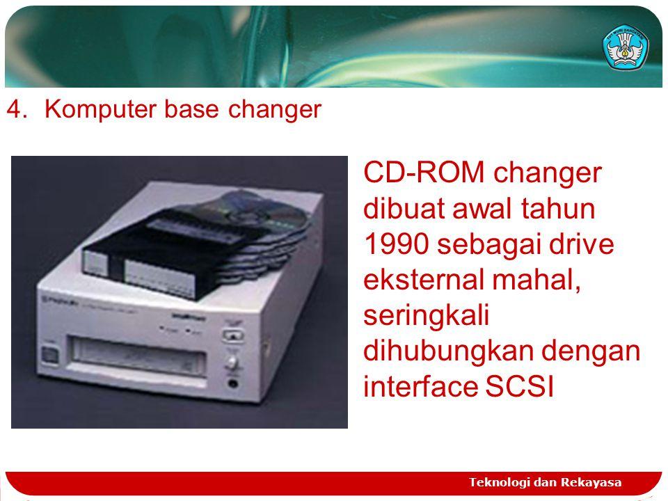 Komputer base changer CD-ROM changer dibuat awal tahun 1990 sebagai drive eksternal mahal, seringkali dihubungkan dengan interface SCSI.