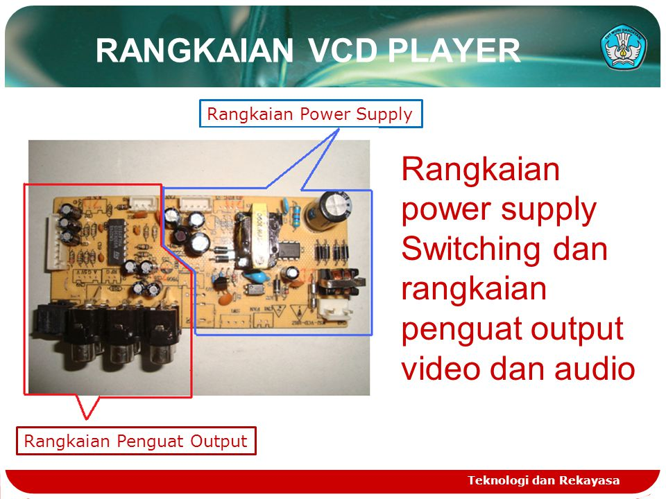 RANGKAIAN VCD PLAYER Rangkaian Power Supply. Rangkaian power supply Switching dan rangkaian penguat output video dan audio.