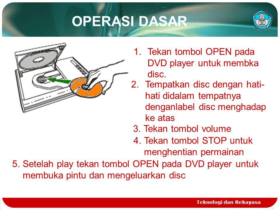 OPERASI DASAR Tekan tombol OPEN pada DVD player untuk membka disc.