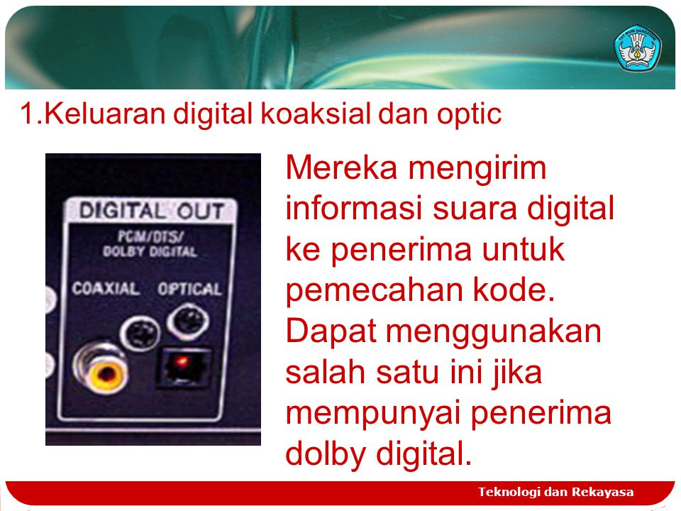 Keluaran digital koaksial dan optic