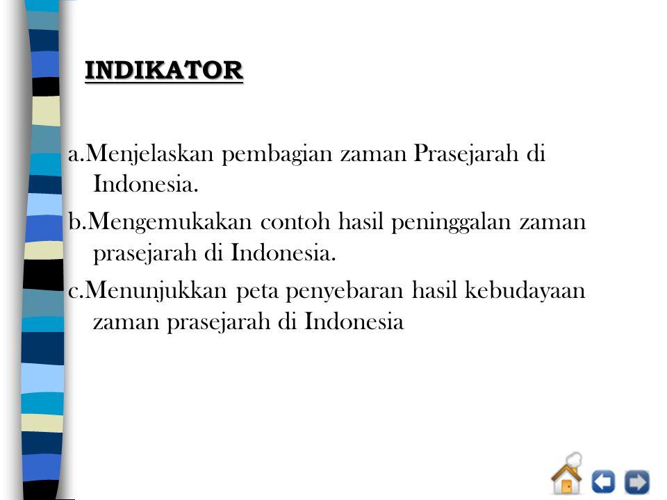 INDIKATOR a.Menjelaskan pembagian zaman Prasejarah di Indonesia. b.Mengemukakan contoh hasil peninggalan zaman prasejarah di Indonesia.
