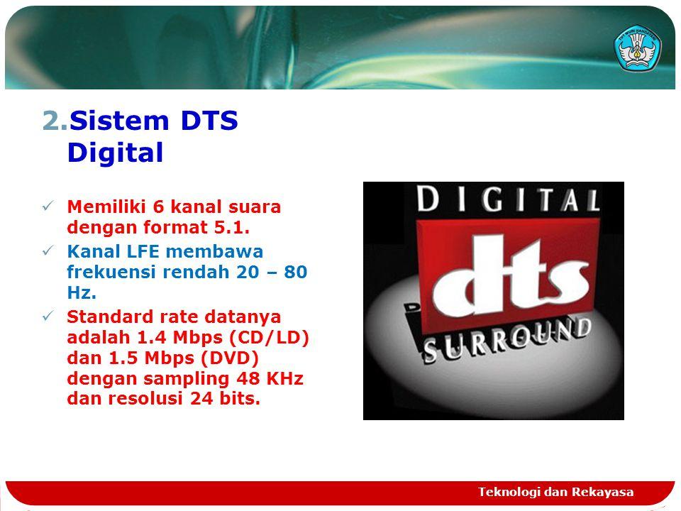 Sistem DTS Digital Memiliki 6 kanal suara dengan format 5.1.