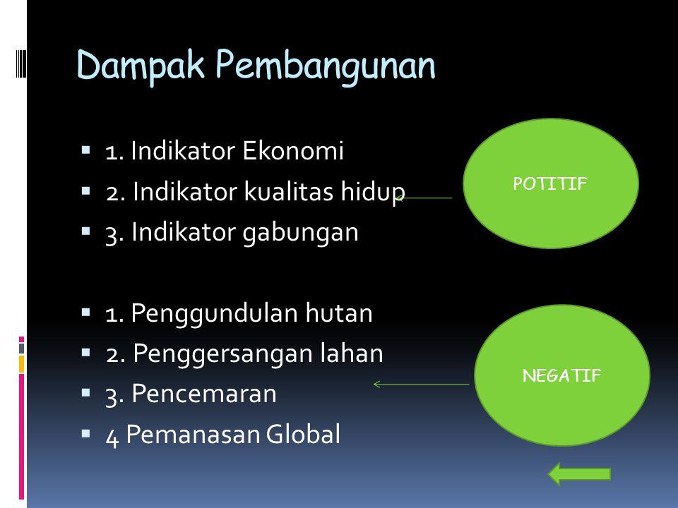 Dampak Pembangunan 1. Indikator Ekonomi 2. Indikator kualitas hidup