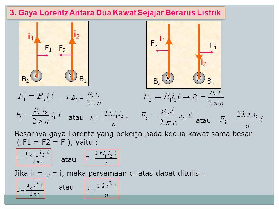 3. Gaya Lorentz Antara Dua Kawat Sejajar Berarus Listrik