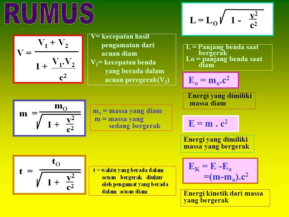 RUMUS c v 1 - L = L Eo = mo.c2 E = m . c2 EK = E -Eo =(m-mo).c2