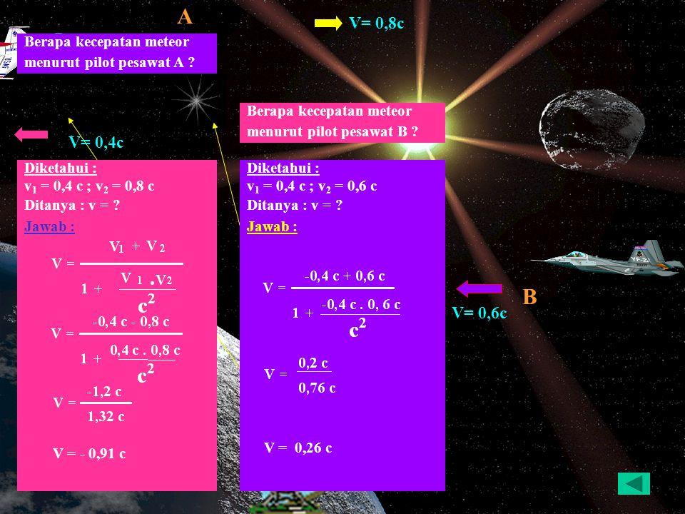 A B V= 0,8c V= 0,4c V= 0,6c Berapa kecepatan meteor