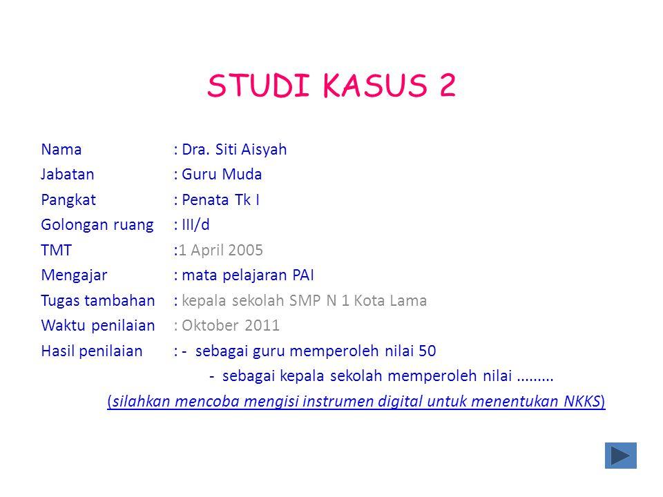 STUDI KASUS 2 Nama : Dra. Siti Aisyah Jabatan : Guru Muda