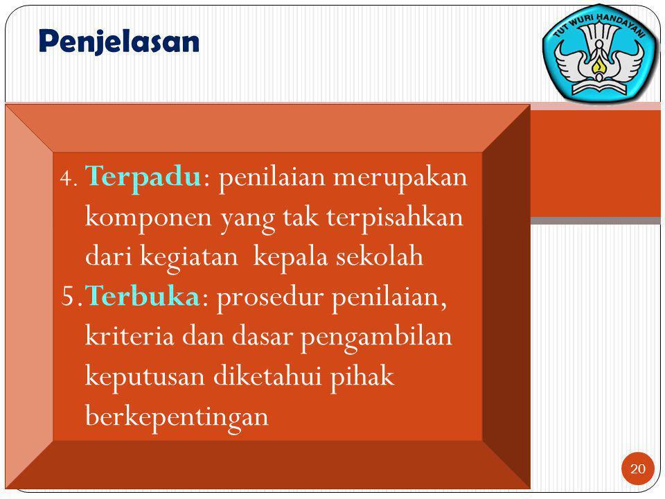 Penjelasan 4. Terpadu: penilaian merupakan komponen yang tak terpisahkan dari kegiatan kepala sekolah.