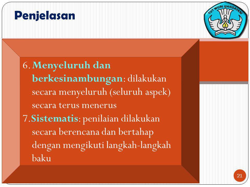 Penjelasan 6. Menyeluruh dan berkesinambungan: dilakukan secara menyeluruh (seluruh aspek) secara terus menerus.