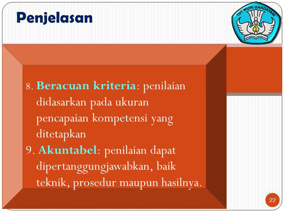 Penjelasan 8. Beracuan kriteria: penilaian didasarkan pada ukuran pencapaian kompetensi yang ditetapkan.