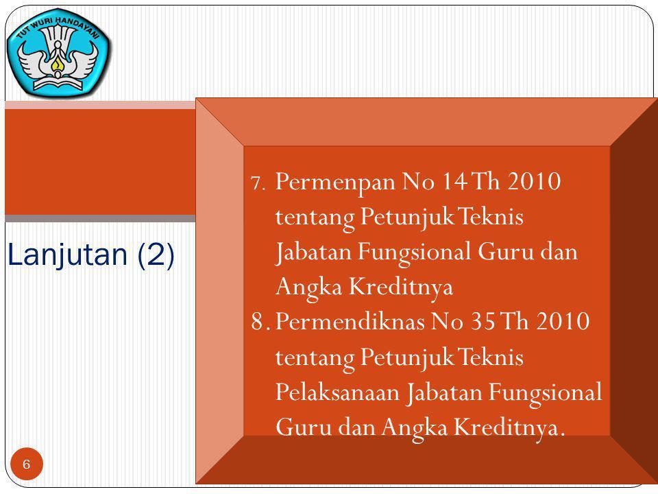 7. Permenpan No 14 Th 2010 tentang Petunjuk Teknis Jabatan Fungsional Guru dan Angka Kreditnya