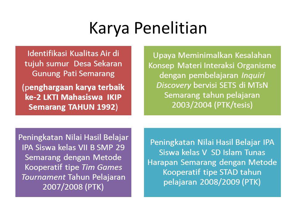 Karya Penelitian Identifikasi Kualitas Air di tujuh sumur Desa Sekaran Gunung Pati Semarang.