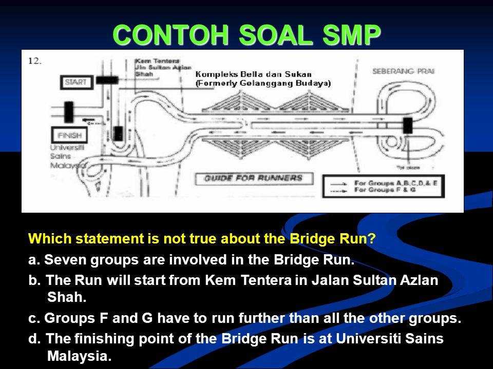 CONTOH SOAL SMP Which statement is not true about the Bridge Run