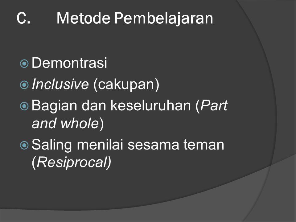 C. Metode Pembelajaran Demontrasi Inclusive (cakupan)
