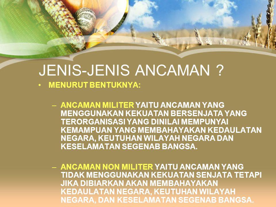 JENIS-JENIS ANCAMAN MENURUT BENTUKNYA: