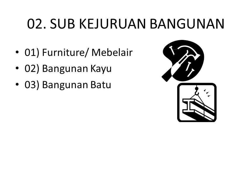 02. SUB KEJURUAN BANGUNAN 01) Furniture/ Mebelair 02) Bangunan Kayu