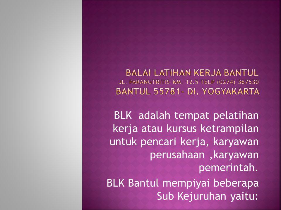 BLK Bantul mempiyai beberapa Sub Kejuruhan yaitu: