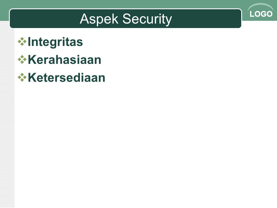 Aspek Security Integritas Kerahasiaan Ketersediaan