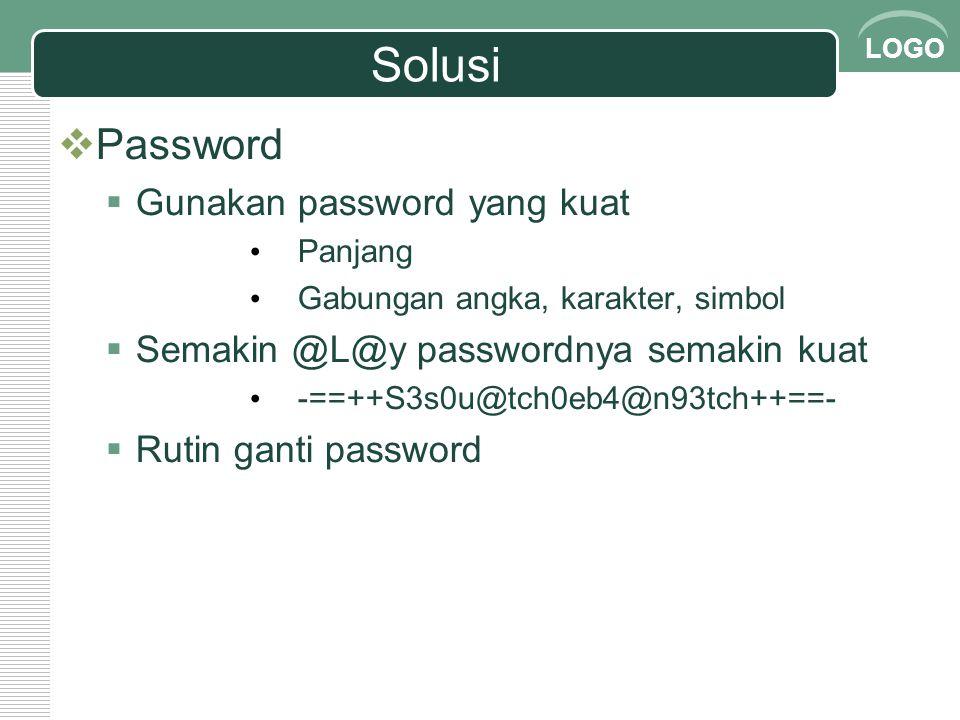 Solusi Password Gunakan password yang kuat