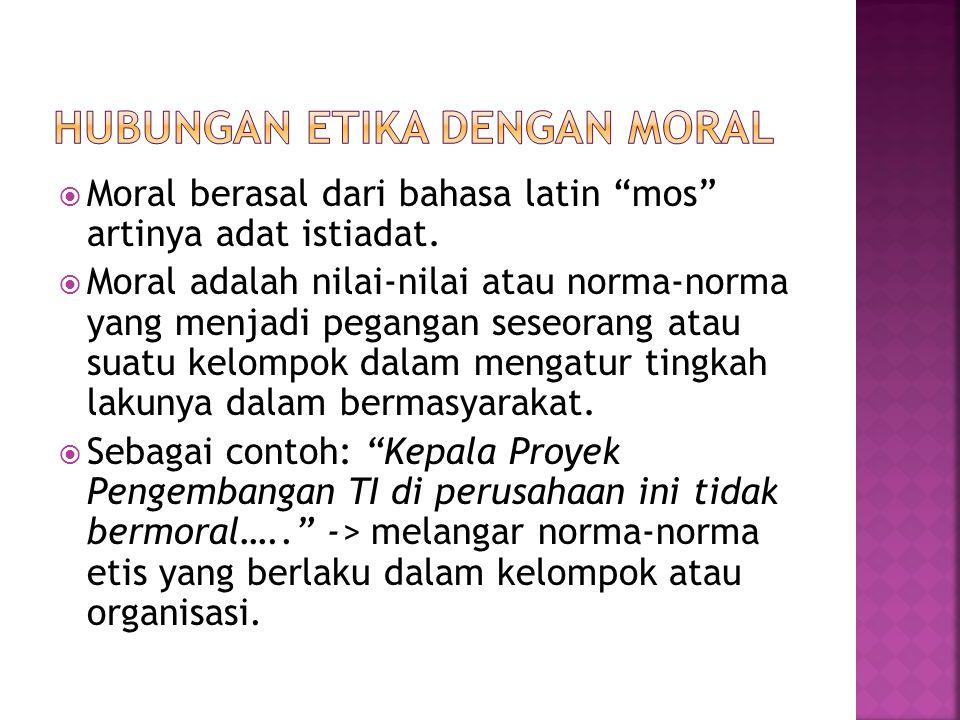 Hubungan Etika dengan Moral
